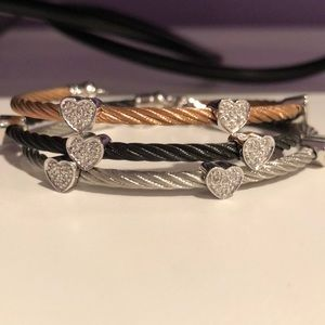 CABLE BRACELETS WITH DIAMOND HEARTS